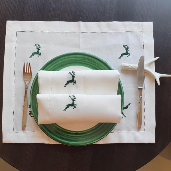 Übelhör Platzset Hirsch grün - Tischset Halbleinen