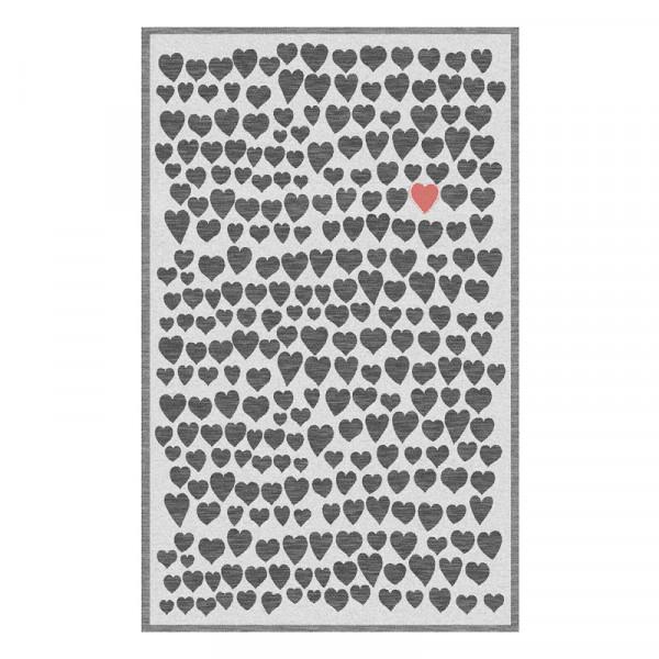 Küchentuch Scherli mit Herz - Geschirrtuch schwarz - rot