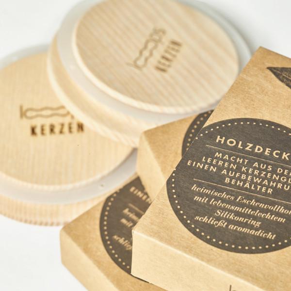 Duftkerze Holzdeckel für Kerzenglas Looops