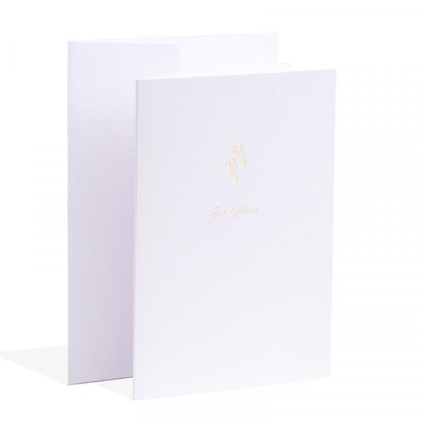 Gmund Papier Karte zur Geburt - Füsschen - mit Briefhülle