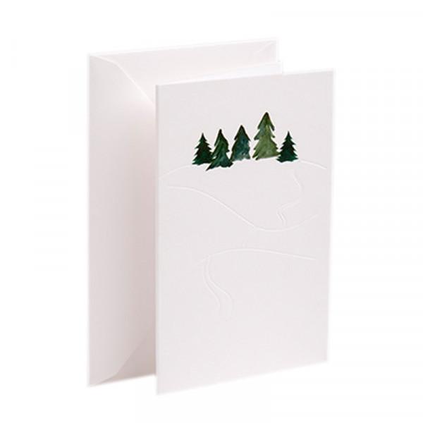 Gmund Papier Karte Spuren im Schnee mit Tannenbäumen