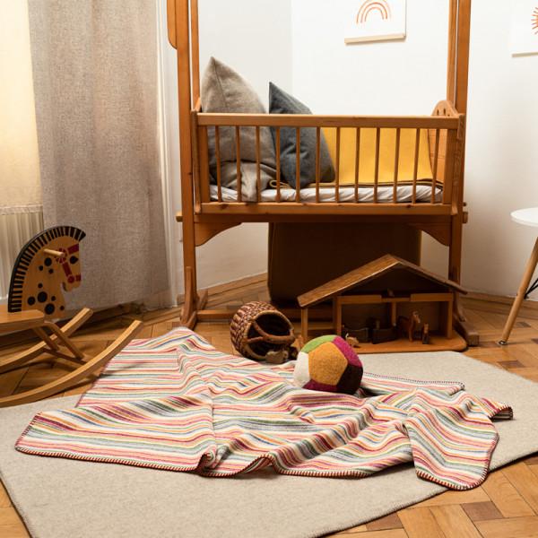 Steiner Babydecke Leon gestreift - Kinderdecke 75*75 cm