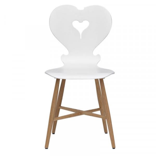 Stuhl Trix weiß - Bauernstuhl Herz-Stuhl Landhausstuhl